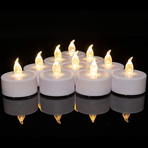 Battery Operated Tea Lights Candles: 24 Pack Realistic and Bright Flickering Holiday Gift Flameless LED Electric Candles for Seasonal & Festival Party Home Decoration (Warm White)
