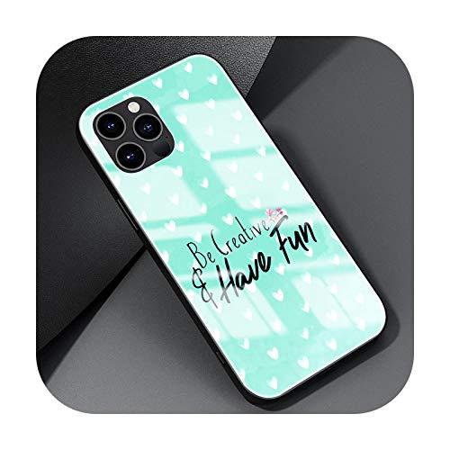 Cubierta de cristal para el iPhone 12 Mini 11 Pro 7 XR X XS Max 6 6S 8 Plus templado capa teléfono caso Shell lindo corazón-T07-para iPhone 12 Pro