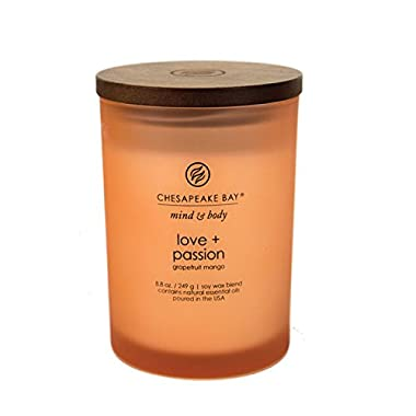 Chesapeake Bay Candle Mind & Body Medium Scented Candle, Love + Passion (Grapefruit Mango)