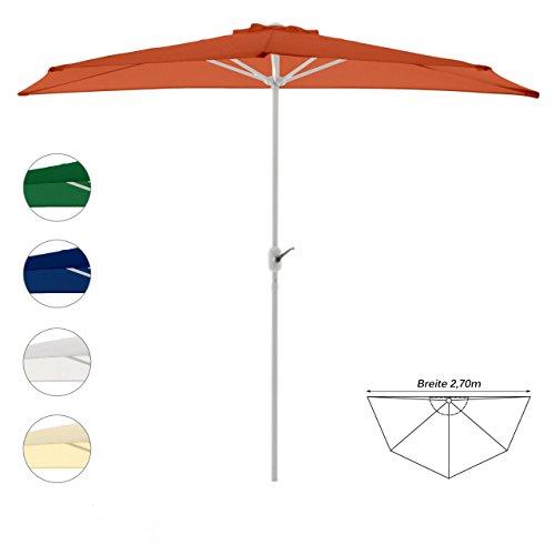 Nexos GM35098 Sonnenschirm Terrakotta halbrund Ø 2,70 x 1,40m Wandschirm Balkon-Schirm mit Kurbel Polyester 160 g/m² Sonnenschutz, Orange, 2,7m