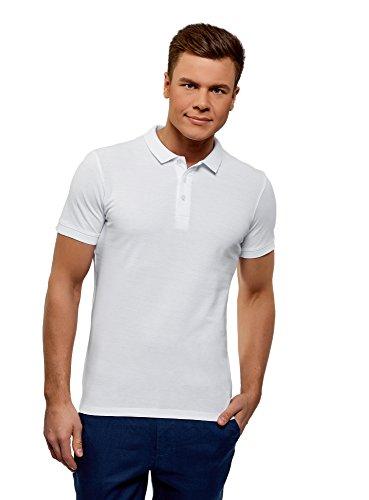 oodji Ultra Herren Pique Poloshirt (2er-Pack), Weiß, DE 50 / M