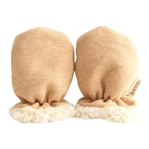 Guanti invernali per neonato, anti-graffio, guanti invernali caldi in cotone biologico, elasticizzati, con fodera in lana di agnello, per bambine e ragazzi da 0 a 12 mesi, regalo per baby shower