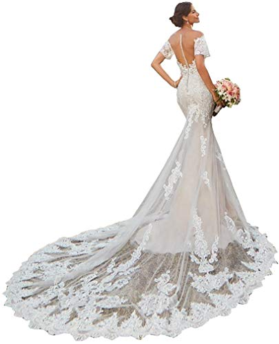 Mermaid Trumpet Off The Shoulder Short Sleeves lace Bridal Ball Gown Wedding Dresses for Women Bride with Long Train Ivory