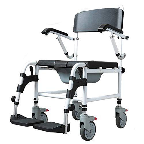 DGHJK Höhenverstellbarer Rollstuhl, klappbarer Duschkommodenstuhl, beweglicher WC-behindertengerechter Toilettensitz, bequem und langlebig, mit Handbremse und Pedalen/Schwarz