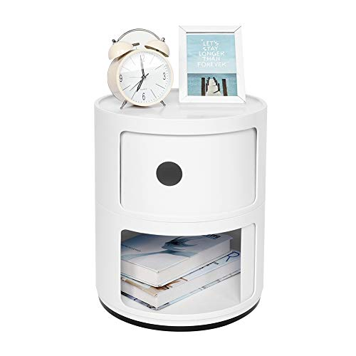 AYNEFY Nachttisch Moderner Componibili mit 2 Container Kleines Runde Kommode Schrank Schränkchen Deko Nachtschrank Beistelltisch Sofatisch für Wohnzimmer Schlafzimmer Flur, Weiß, 32 x 32 x 40 cm