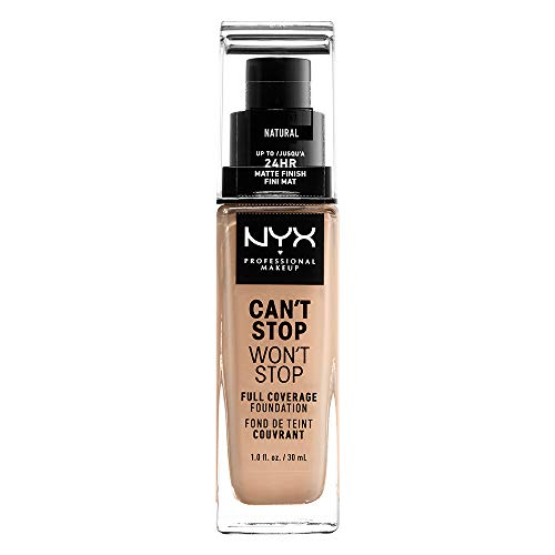NYX Professional Makeup Can't Stop Won't Stop Full Coverage Foundation Fondotinta, Lunga Tenuta, Waterproof, Finish Matte, Tonalità Natural