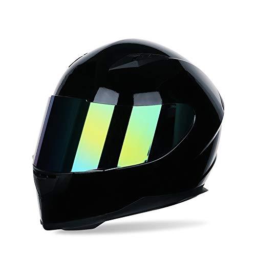 MOTUO Motorradhelm Integralhelm Damen Herren Racing Helm Incl. Verspiegeltem Visier,Schwarz,S
