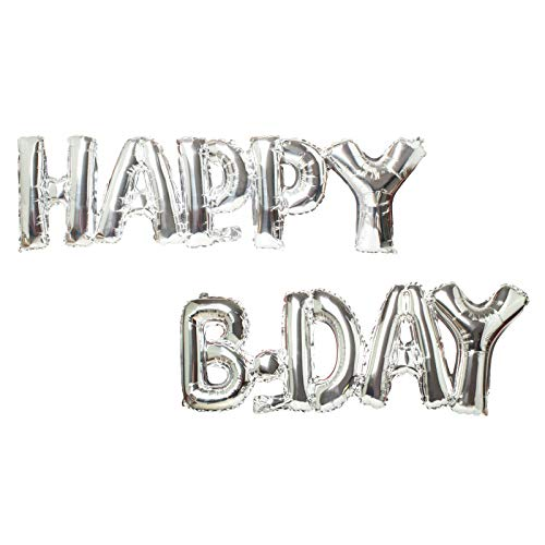 Happy B-Day Balloons,16inch Aluminum Foil Balloons for Birthday Party Decoration Silver