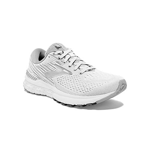 Brooks Womens Adrenaline GTS 19 Running Shoe - White/White/Grey - B - 10.5