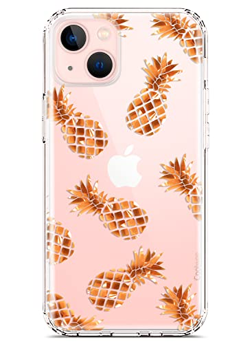 Coolwee Clear Glitter Compatible iPhone 13 Case Flower Slim Cute Bling Shiny Women Girl Floral Hard Back Soft TPU Bumper Protective Cover Compatible with Apple iPhone 13 6.1 inch Rose Gold Pineapple