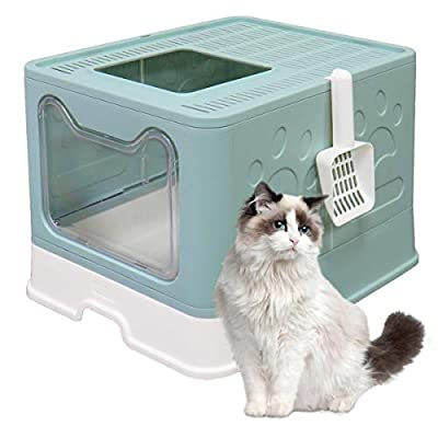 MelkTemn Foldable Cat Litter Tray with Lid Top Entry Litter Box Pet Kitty Toilet,Tray & Pet Plastic Scoop ,Portable & Easy Clean No Smell, Sturdy & Easy Clean