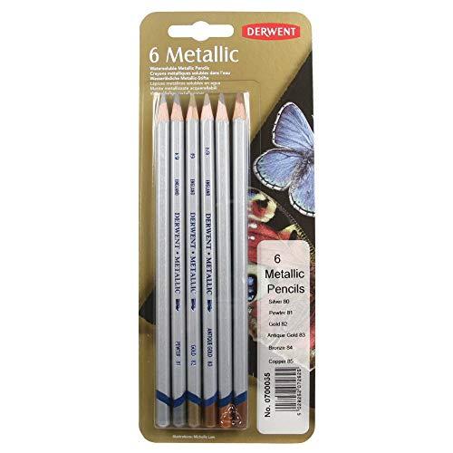 Derwent Metallic Packung Buntstifte wasserlöslich 6 traditionelle Stifte