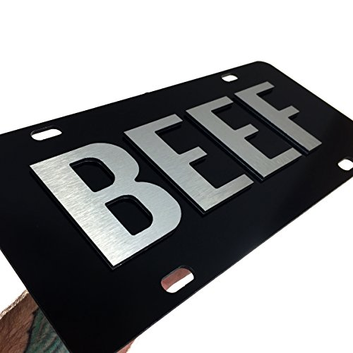 Beef License Plate Brushed Aluminum on Black 2-D Farmer Heavy Duty