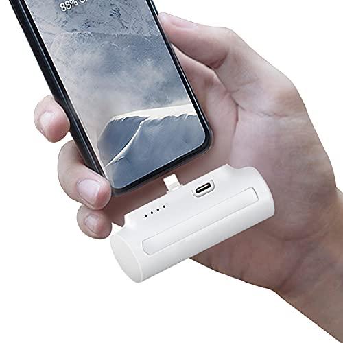 モバイルバッテリー 小型 5000mAh超ミニ【長さ7.5cm/PSE認証済/2.1A急速充電/スマホスタンド付】ios用 直接充電 コネクター内蔵 超軽量 持ち運びやすい コードレス コンパクト iPhone 13/13 Pro/SE2/12/XS/XR/X/8/8 Plus/7/6/6S/iPod 充電対応