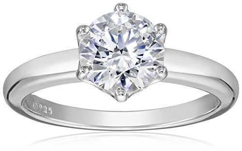 Amazon CollectionPlatinum-Plated Sterling Silver Solitaire Ring set with Round Swarovski Zirconia (2 cttw), Size 9