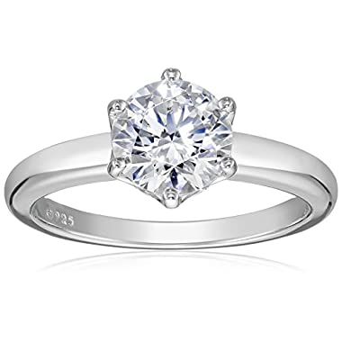 Amazon Collection Platinum or Gold Plated Sterling Silver Round cut Solitaire ring made with Swarovski Zirconia
