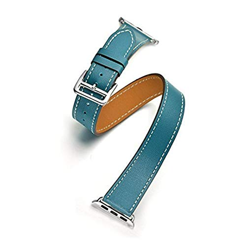 Watch Straps Double Tour Strap for Apple watch band 44mm/40mm 42mm/38mm Genuine Leather watchband belt bracelet for iWatch series 5 4 3 se 6 band for Men ( Band Color : Blue , Band Width : 42mm )