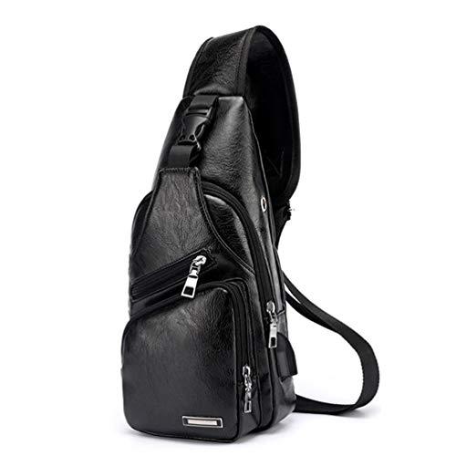 YFbear Sacs a Dos porté épaule Travers Sac de Poitrine Homme Sac Rétro en Cuir en Bandoulière Vntage d'affaire Poche pour Voyage Randonnée Sport (Noir)