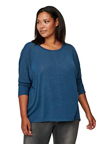 Zizzi Damen Große Größen Bluse runder Ausschnitt Einfarbig Blau Gr 46-48