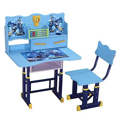 ZXYY Escritorios Mesas y sillas de Estudio para niños, mesas y sillas Elevadoras, Juego de sillas y Estudiantes, estantería para el hogar Simple para Estudiantes (Color: Azul, Tamaño: 65 40 63 cm