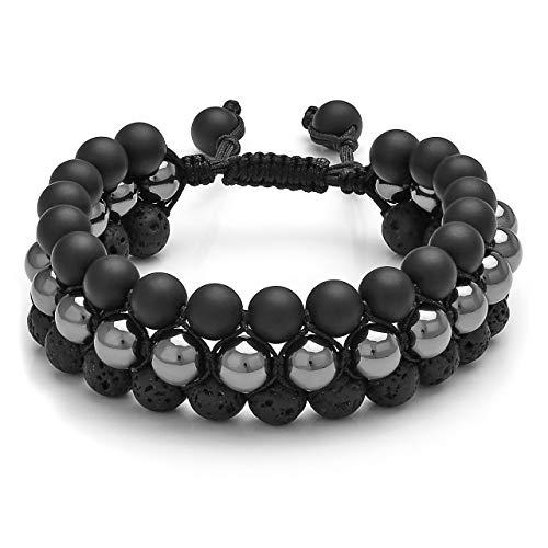 Top Plaza Mens Lava Rock Stone Essential Oil Diffuser Bracelet Chakra Yoga Healing Crystal Bracelet Natural Gemstone Beads Anxiety Bracelets Braided - Magnetic Stone + Black Agate + Lava Bead