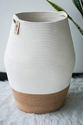 Goodpick Wäschekorb Groß Aufbewahrung Korb Geflochten aus Baumwolle Seil für Schmuzige Kleidung in der Waschküche 65cm Hoch, Weiß und Jute