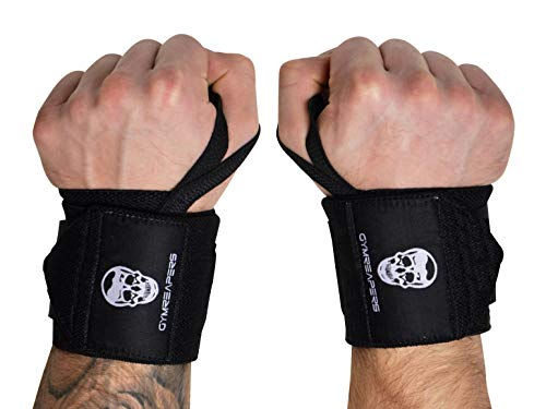 """Gymreapers Weightlifting Wrist Wraps (Competition Grade) 18"""" Professional Quality Wrist Support with Heavy Duty Thumb Loop - Best Wrap for Powerlifting, Strength Training, Bodybuilding(Black,18"""")"""
