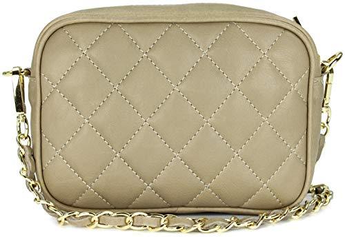 Belli italienische Echt Nappa Leder Abendtasche Damentasche kleine Umhängetasche zum Ausgehen gesteppt in schlamm - 18x13x7 cm (B x H x T)