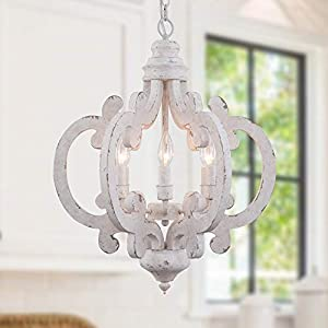 Cottage Wooden Chandelier, 6 Candle Light Farmhouse Chandelier, French Country Chandeleir with Adjustable Chain for Dining Room, Kitchen,Bedroom, Foyer and Entryway