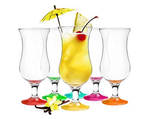 Sendez 6 Cocktailgläser Mix 480ml Hurricane Cocktailglas Longdrinkgläser Eisgläser