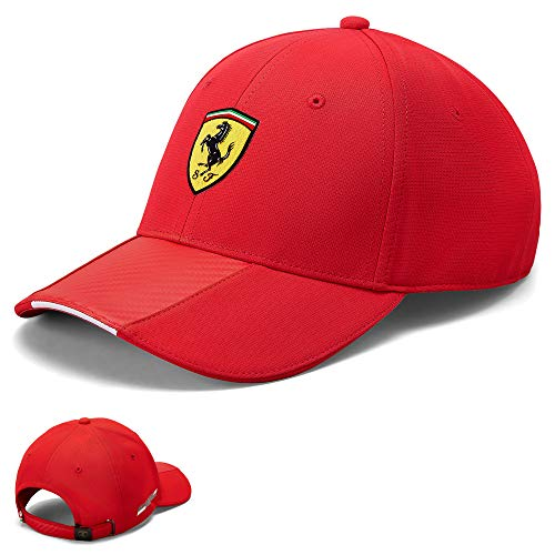 2020 Scuderia Ferrari F1 Offizielle Fan-Kappe und Mütze, Kollektion für Erwachsene und Kinder, Red Carbon Baseball Cap, Adults One Size
