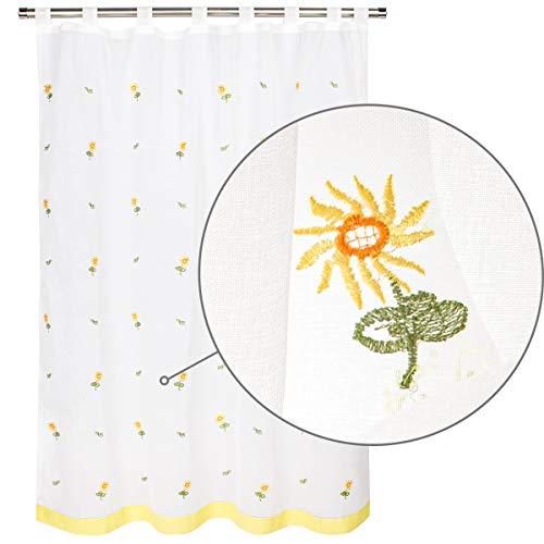 Viste tu hogar Cortina Corta de Visillo Especial para Cocina, Suave y Ligera,140 x 145 cm, con Diseño Bordado de Flores en Color Amarillo.