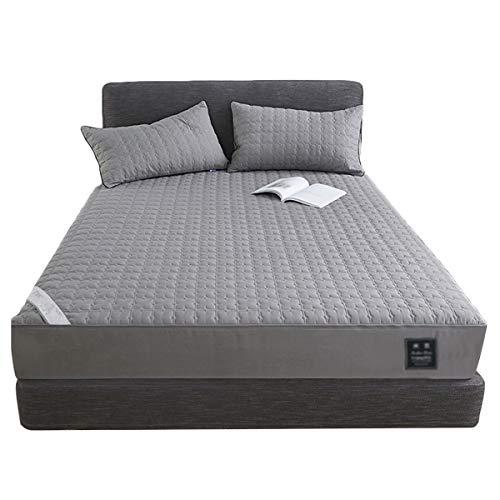 QIANGU Funda protectora para colchón súper suave y antipolvo, con cremallera, lavable a máquina, resistente al agua, sin estimulación (color: gris, tamaño: 180 x 200 + 15 cm)