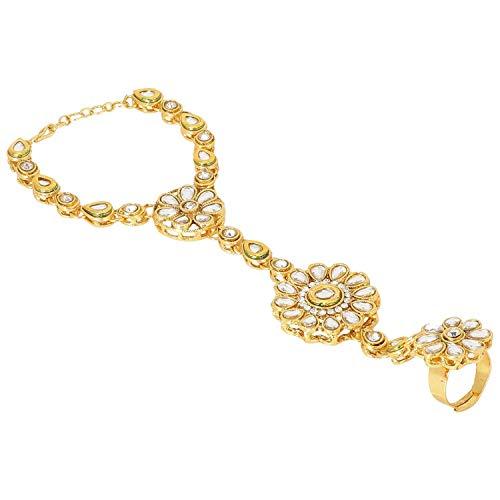 Efulgenz Indian Bollywood Gold Plated Crystal Kundan Finger Ring Link Chain Wedding Bridal Bracelet Hand Harness Slave Gift Jewellery