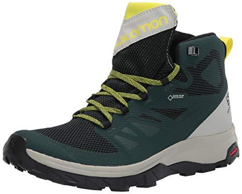 Salomon OUTLINE Mid GTX Scarpe da Uomo con Tecnologia GORE-TEX per Camminate ed Escursionismo, 40 EU, Multicolore (Green Gables/ Mineral Grey/Evening Primrose)