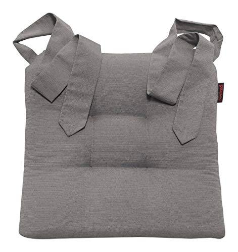 Stuhlkissen Sitzkissen Schleifenband Auflage Polster Stuhl Stuhlauflage Rattanstühle extra dick robust Esszimmerstühle, Farbe:Magma_grau_003