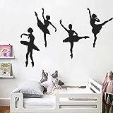 Pegatinas de pared para decoración del hogar, diseño de chica de ballet creativa, para decoración de la habitación de los niños, PVC, para Pascua, multicolor
