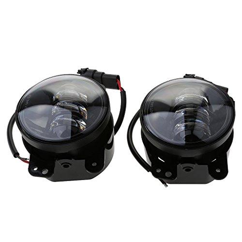 B Blesiya 1 Par de Faros Antiniebla LED de 4 Pulgadas 30 W 6000 K Blanco para Wrangler JK TJ