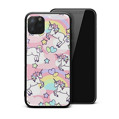 Unicorn Wallpaper Phone Case Cute Rubber Frame Tempered Glass Back Cover for IPhone12 Protects The Phone from Scratches and Dirt Without Fading