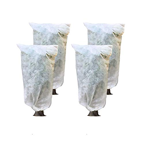 Lesiyou 4 Packs Reusable Plant Covers with Drawstring for Winter Frost Protection, 39.4X31.5 Inch, White