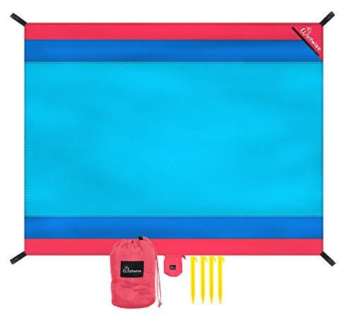 WolfWise 270 x 210 cm XXL Alfombra de Playa, Manta de Picnic de Bolsillo Impermeable Extra Grande, a Prueba de Arena & Lavable con 4 Estacas, Azul