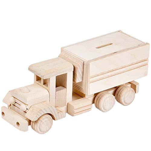 BARTU Holz Sparbüchse Spardose LKW Oldtimer Holzauto Holzspielzeug