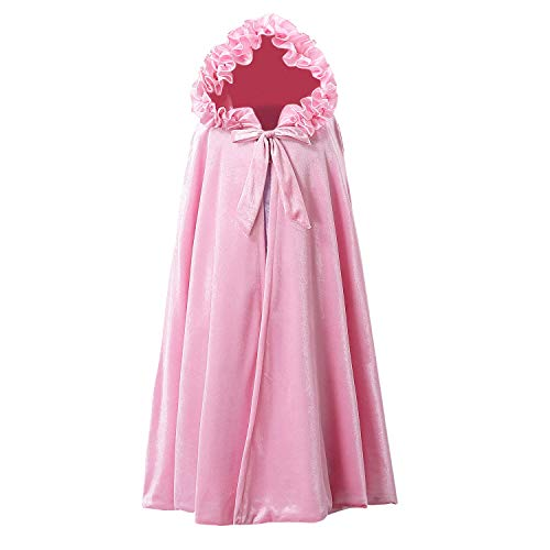 Newland Princess Cape, Princess Hooded Long Cape Cloak Costumes for Girls Dress Up 3-12 Years (M 3-7years(Length:31.5'), Pink)