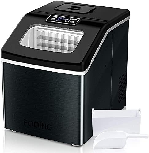 FOOING Square Ice Machine Maker Piano di lavoro pronto in 13 minuti 24 Grande macchina per il ghiaccio con paletta per il ghiaccio e cestello Display a LED Macchine per il ghiaccio per casa Cucina