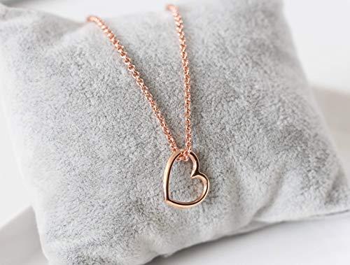Halskette rose vergoldet Anhänger Herz Farbe rosegold, filigran, Geschenk, Damen