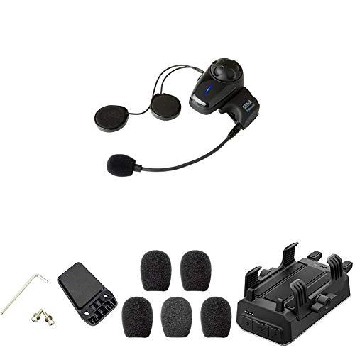 Sena Auricular E Intercomunicador Bluetooth + Kit de Sujeción al Casco + Espumas de Protección para Micrófono + Sena Powerpro-01 Soporte para Manillar