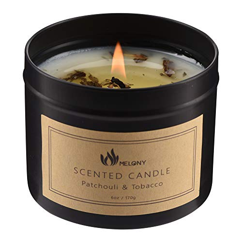 MELONY Candles- Natural Soy Candle for Home Scented- Patchouli & Tobacco- Hand Poured Aromatherapy Candle in Black Jar, Highly Scented (Small, 6oz, 35Hrs)