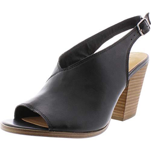 Lucky Brand Women's Ovrandie Leather Slingback Heel Sandals Black Size 10