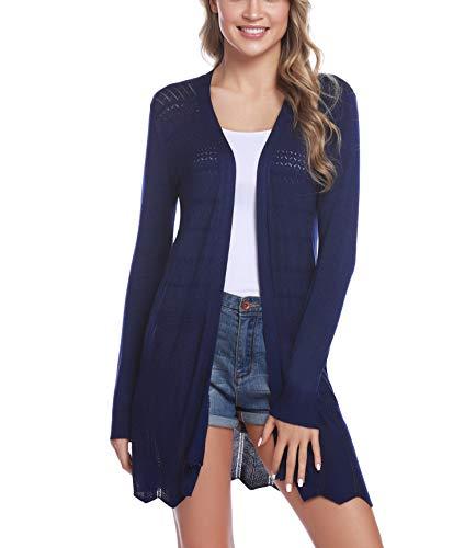 iClosam Damen Cardigan Lang Dünne Jacke mit Leichter Transparenz Langarm Strickjacke (Blau, M)