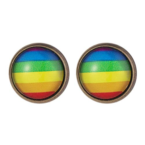 Shimigy Rainbow Flag Pride LGBT Charm Stud Earrings Gay Lesbian Love Earrings